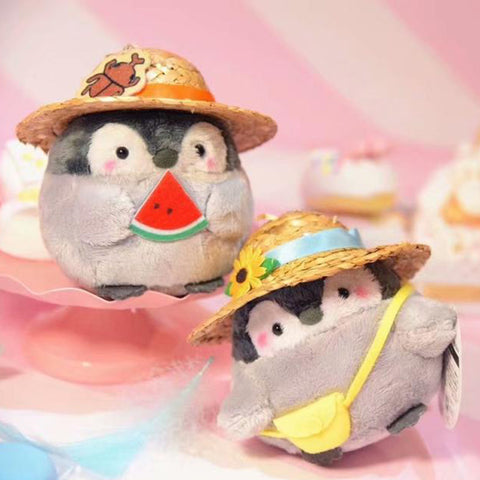 Big Plush Charm! Japan Licensed Koupen Chan Penguin Wearing Straw Hat Plush