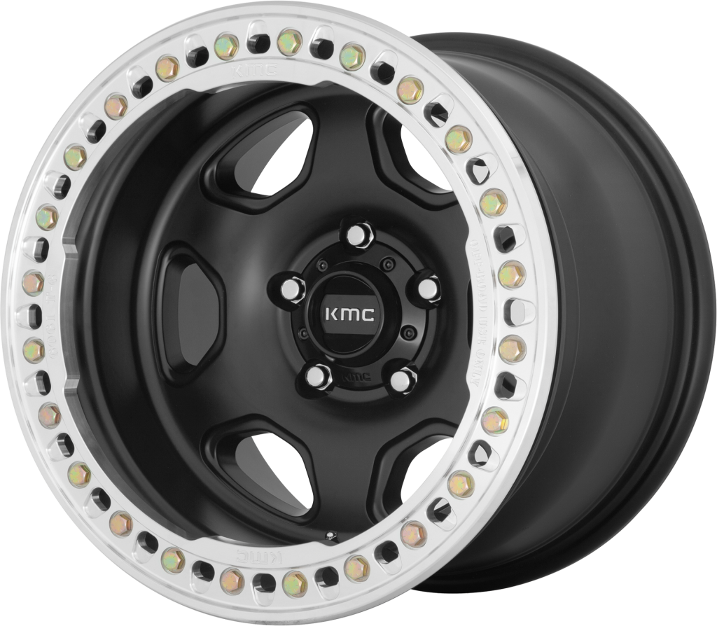 KMC KM235 Grenade Crawl Wheel, 20x10 with 6 on 5.5 Bolt Pattern - Black / Machined - KM23521060748N