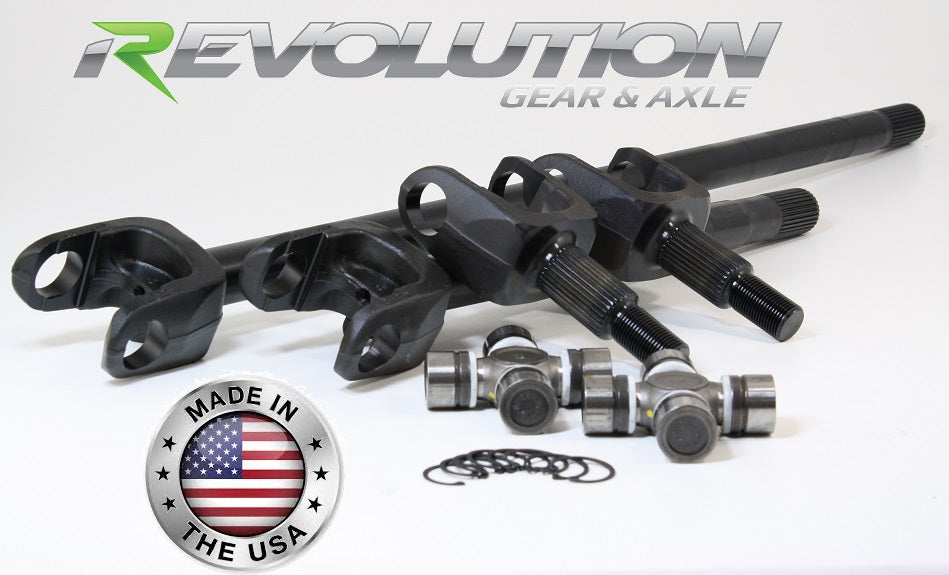 Dana 30 JK 4340 Chromoly 30Spl Front Axle Kit 2007-18 JK Sahara and X Model US Made Revolution Gear and Axle