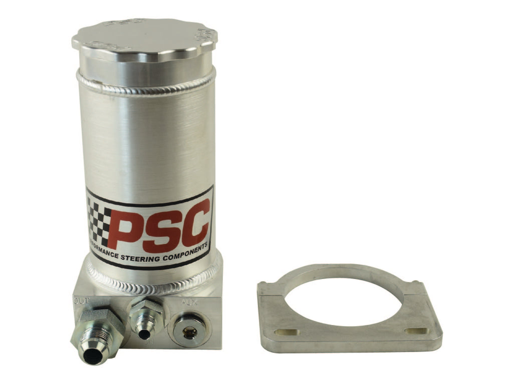 Pro Touring Brushed Aluminum Remote Reservoir Kit, #6AN Return #10AN Feed PSC Performance Steering Components
