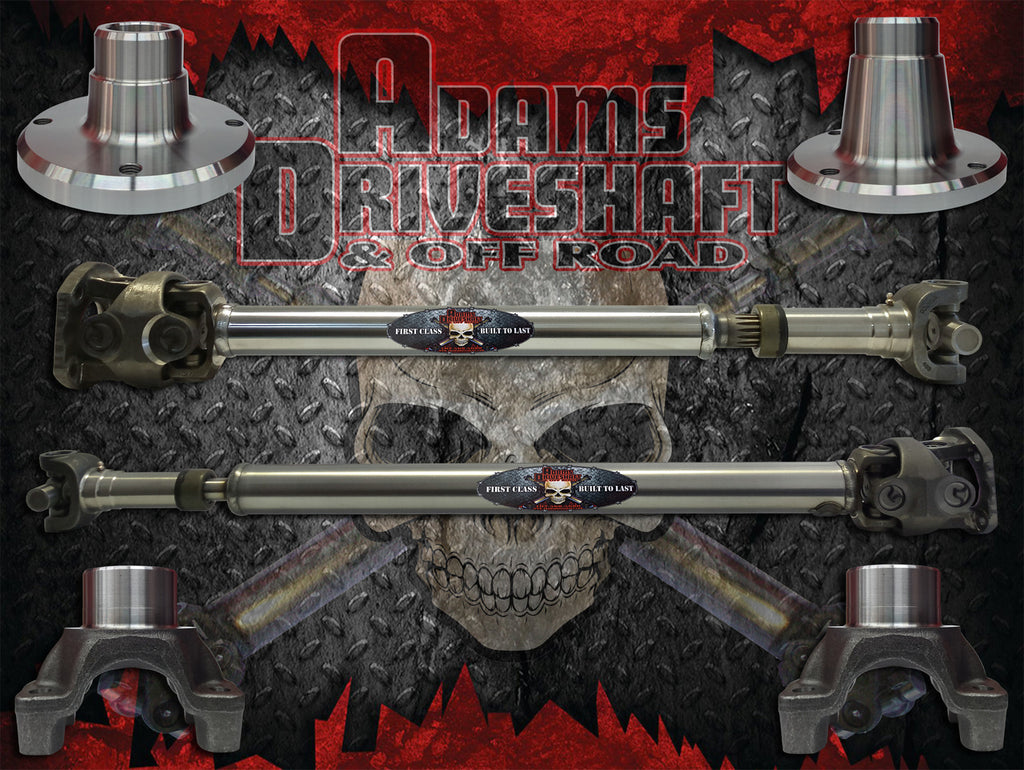 ADAMS DRIVESHAFT JK FRONT & REAR 1350 CV DRIVESHAFT PACKAGE [EXTREME DUTY SERIES] with SOLID U-JOINTS - Skinny Pedal Racing