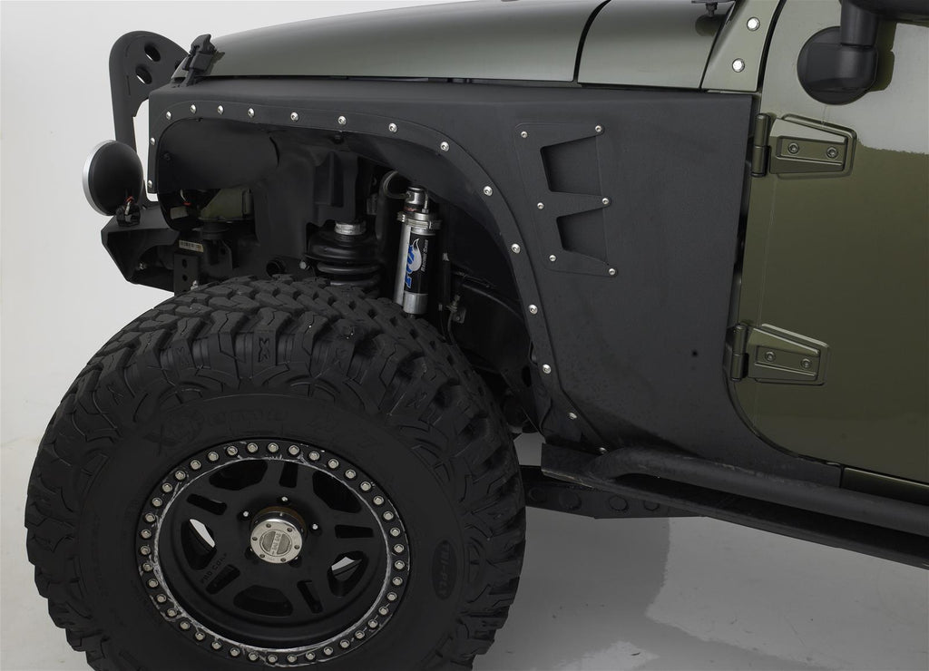 "Smittybilt XRC Armor, Front Fender Kit - 3/16"" Cold Rolled Steel, Powder Coated Black 76880 - Skinny Pedal Racing"
