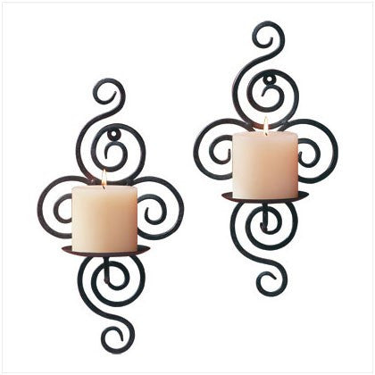 """Swirls"" Metal Pillar Candle Holder"
