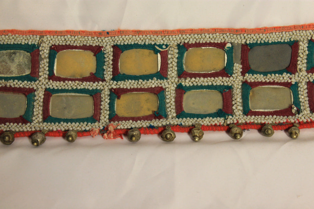 Vintage Hand-Embroidered Belt With Mirrors