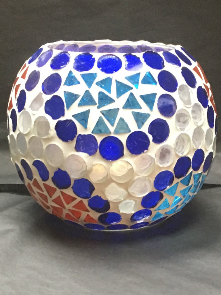 Artisan Mosaic Glass Candle Holder