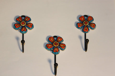 "Artisan Crafted ""Blue Pottery"" Flower Hooks"