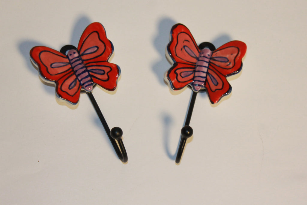 "Artisan Crafted ""Blue Pottery"" Butterfly Hooks"
