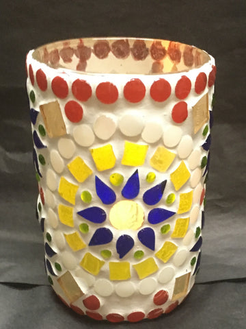 Artisan Mosaic Glass Candle Holders