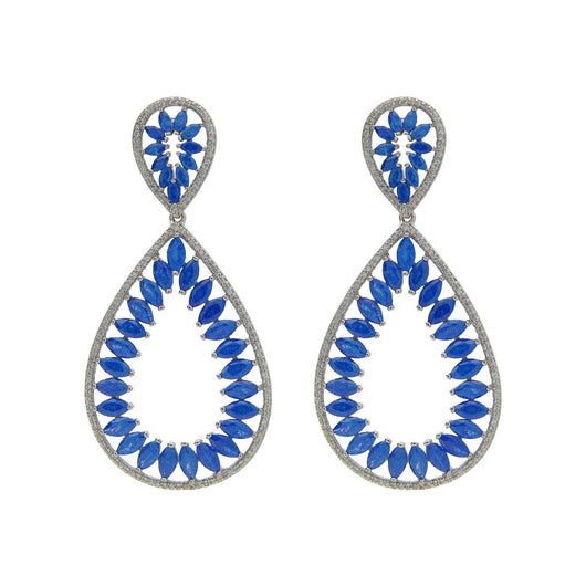 Fronay Collection Rhodium PL Silver Blue & White CZ Marquise Earrings, 2.5