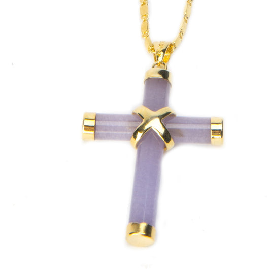 Emma Lavender Jade Cross Pendant Necklace
