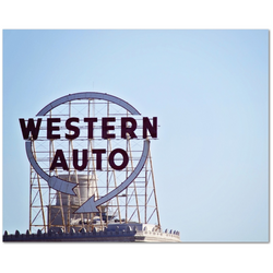 Premium Canvas Gallery Wrap: Kansas City's Western Auto sign (16x20)