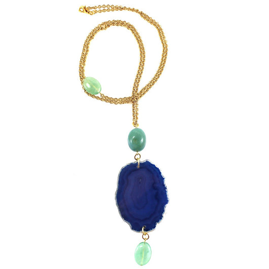 Blue Agate Gold Long Necklace