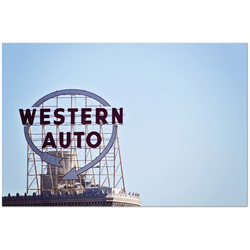 Premium Canvas Gallery Wrap: Kansas City's Western Auto Sign (24x36)