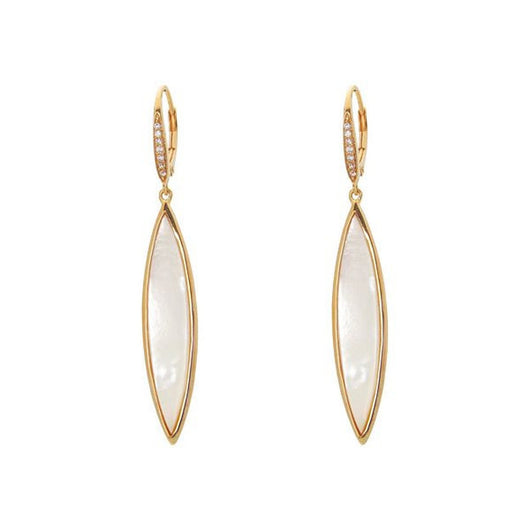 Almond Mother of Pearl and Cz Dangling Sterling Silver Earrings, 57mm É