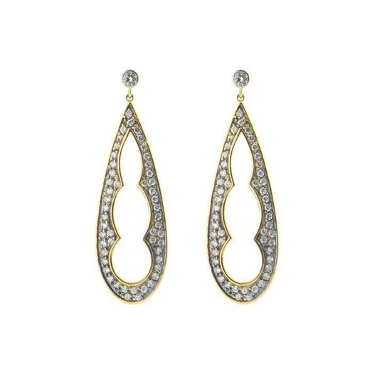 Silver Gold & Black Rhodium Plated  1.5 Inch Long Pear Shape Earrings Cz Edges