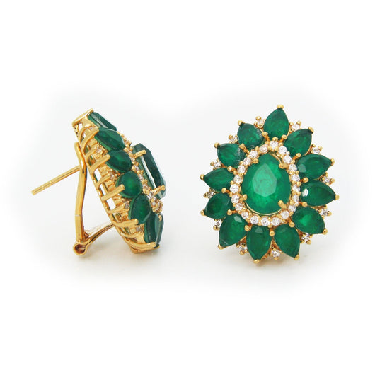 Emerald Quartz Doublet Gold Plated Stud Earrings (May)