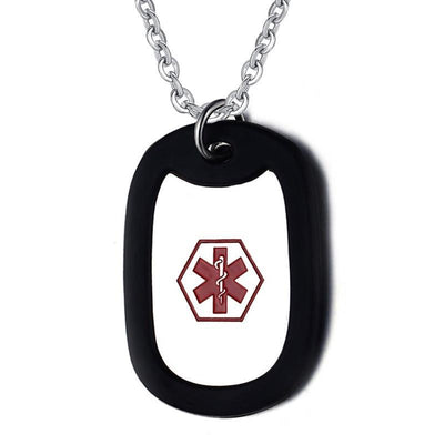 "Stainless Steel Medical Alert Dog Tag Necklace with 24"" Link Chain - Free Engraving!"
