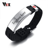 Silicone & Stainless Steel Medical Alert ID Bracelet for Men & Women with Adjustable Band -Free Engraving