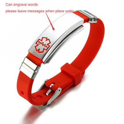 Stainless Steel and Rubber Medical Alert Bracelet  - Free Engraving