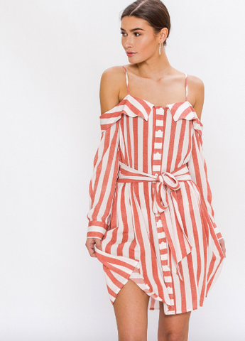 Striped Cold Shoulder