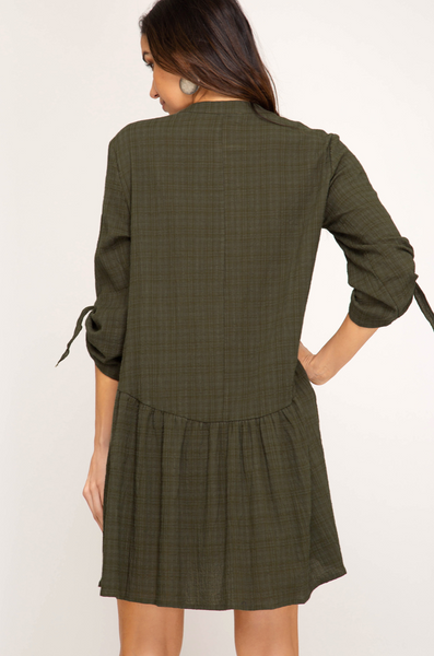 Woven Olive Dress
