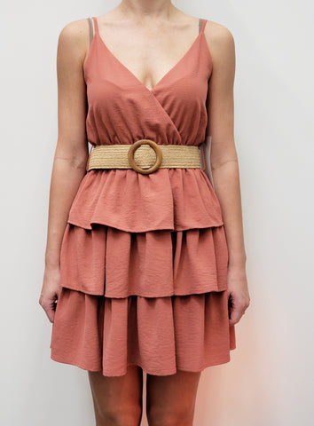 Salmon Belted Dress