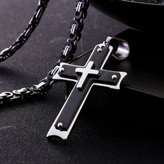 Heavy Duty Black Cross Necklace