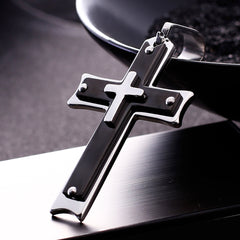 Heavy Duty Black Cross Necklace for Men