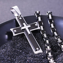 Load image into Gallery viewer, Heavy Duty Black Cross Necklace