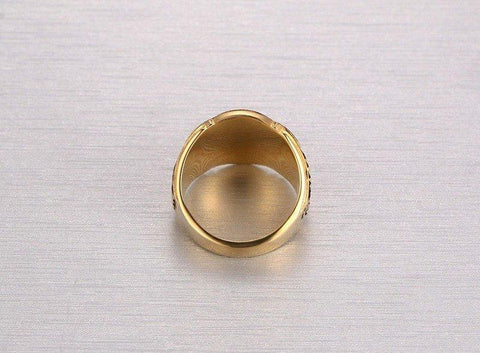 MEN GOLD MASONIC TITANIUM RING 01