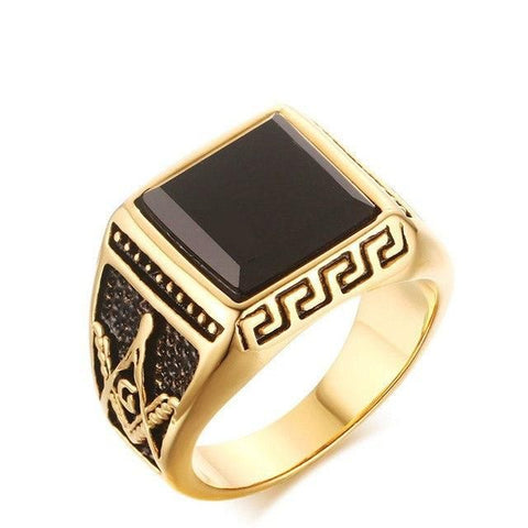 MEN GOLD MASONIC TITANIUM RING 02