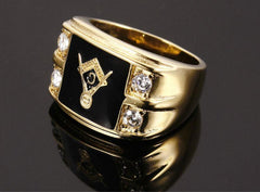 MEN GOLD MASONIC TITANIUM RING 05