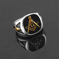 Retro Masonic Stainless Steel Ring