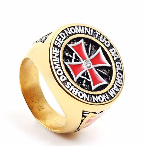 IRON KNIGHTS TEMPLAR CROSS RING ZIRCONIA