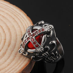 Vintage Luxury Crusader Templar Cross Ring