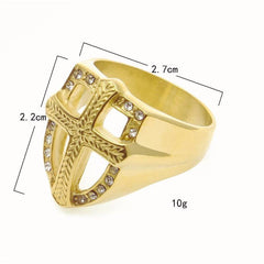 Armor Shield Knight Templar Crusade Gold Plated Ring
