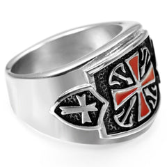 Retro Crusader Cross Ring