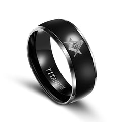 New Arrival Masonic Black Steel Rings(jz057)