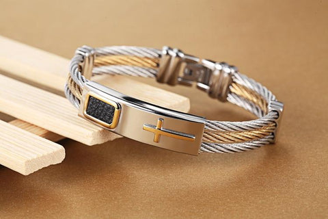 2018 Premium Gold Stainless Steel Cross Bracelet