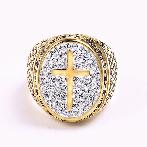 New arrival Mens Gold Cross Ring