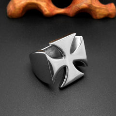 Silver Stainless steel Cross Ring