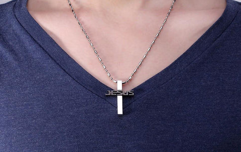 316L Stainless Steel JESUS Cross Pendant Necklace