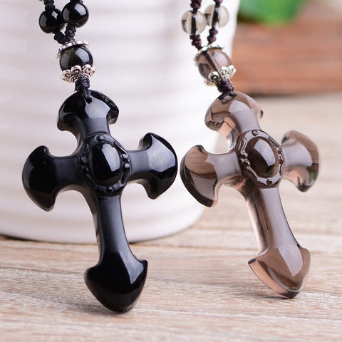OBSIDIAN CROSS PENDANT FOR MEN