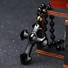 Load image into Gallery viewer, OBSIDIAN CROSS PENDANT