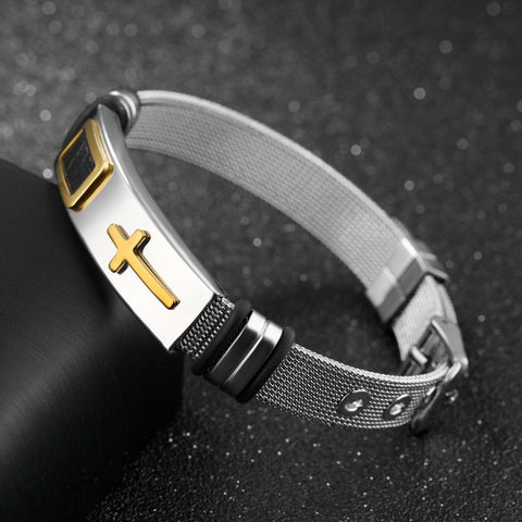 New arrival Premium Gold Stainless Steel Cross Bracelet