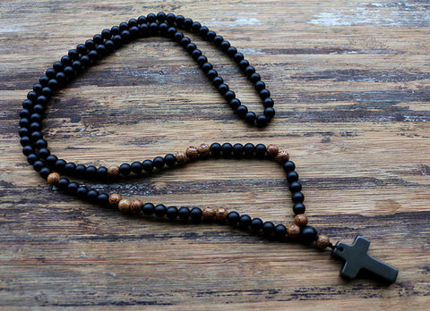 BLACK STONE BEADED CROSS NECKLACE