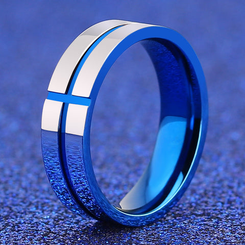 Awesome Blue Cross Ring Stainless Steel