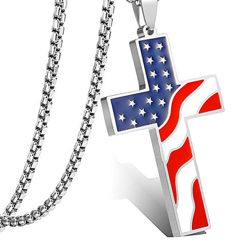 US Flag Cross Necklace