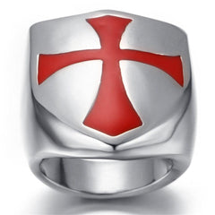 Stainless Steel Red Cross Ring