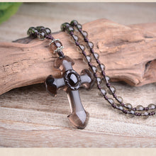 Load image into Gallery viewer, OBSIDIAN CROSS PENDANT FOR MEN